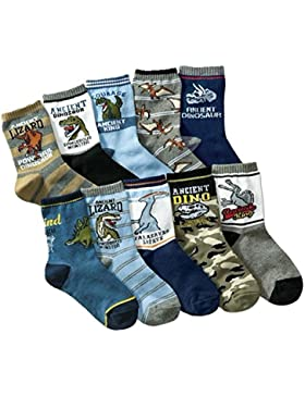 Calcetines de niño Calcetines de Dinosaurios algodón grueso Comfort 10 Pack de niños