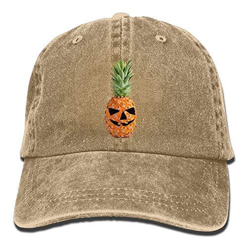 Männer & Frauen Halloween Kürbis Ananas Classic Washed gefärbte Baumwolle einfarbig Baseball-Mütze eine Größe ()