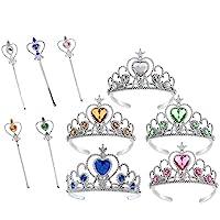 Yeelan 5pcs Dress Up Tiara Princess Costume Party Play Set Pack Crowns & Wands for Kids/Girl/Toddler (Yellow+Blue+Green+Pink+White)