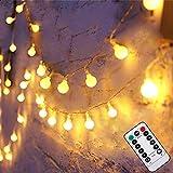 Liwiner LED Guirlande lumineuse 【 télécommande et minuteur 】 4,9m 50leds 8modes à piles Clips Photo ㄧglobe lumières pour l'intérieur ㄧoutdoor Chambre à coucher de Noël Mariage Blanc chaud