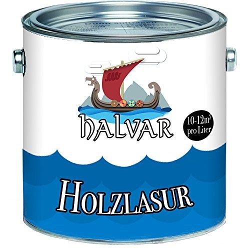 Halvar Holzlasur skandinavische Lasurwetterfest - atmungsaktiv - Lichtbeständig - aromatenfrei - tropfgehemmt - UV-beständig in 12 Farbtönen Außen-Lasur Holz-Schutz Holz-Öl (Ebenholz, 2,5L)