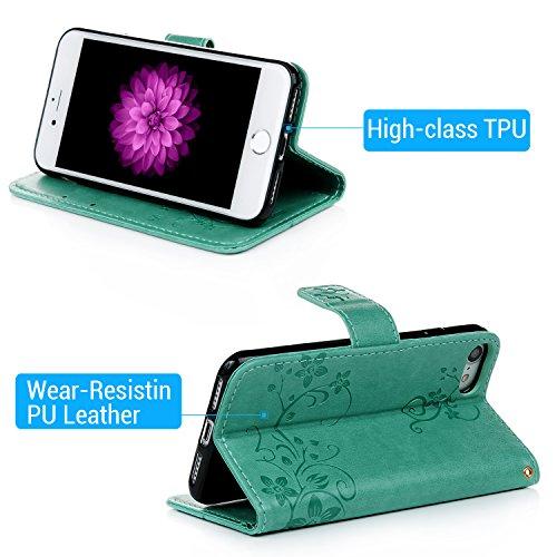 """Étui iPhone 7 4.7"""" Flip Cover, Housse Coque en PU Cuir Case à Rabat pour iPhone 7 Motif Relief Support Portefeuille avec Fermeture Magnétique - Bleu Vert menthe"""
