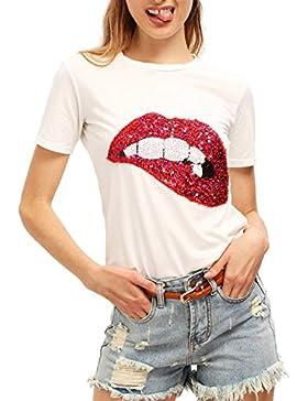 BYD Mujeres Camisetas Manga Corta Labios Impresión T shirt Túnica Blusas Camisas Tops