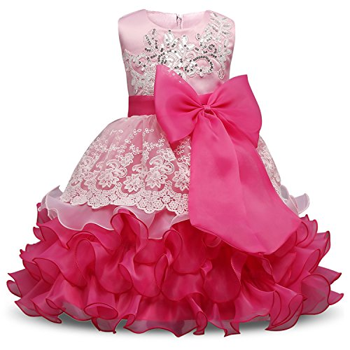 NNJXD Mädchen Rüschen Vintage Bestickt Pailletten Blume Hochzeitskleid Größe(140) 6-7 Jahre Rose