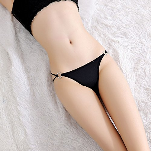 Seidiger Bikini Thong Sexy Tangas für Frauen Schnalle Badeanzug Höschen Damen Low Rise Thongs Höschen Mode G-String Unterwäsche Schwarz