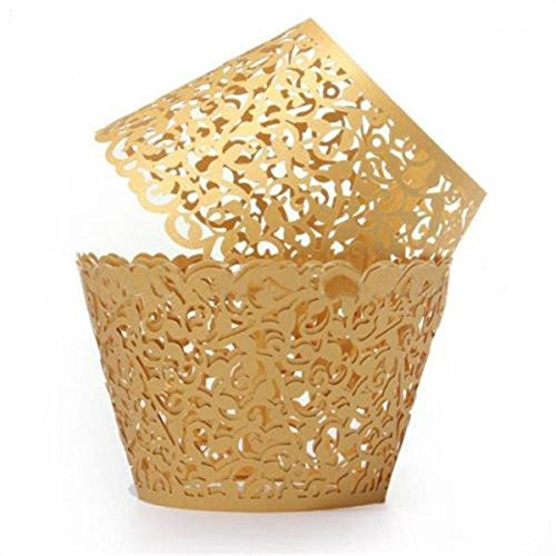 Schnitt Cupcake Papiere Künstlerisch Tassekuchen WrapperFür Hochzeit Geburtstag Party Dekoration (Gold) ()
