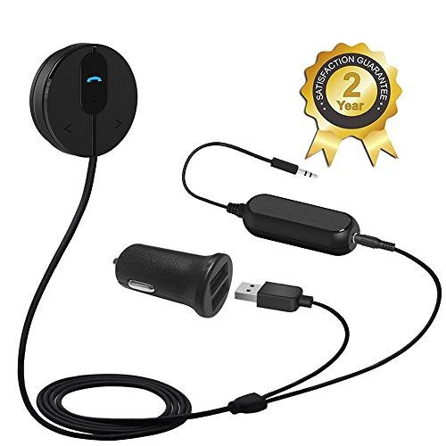 Besign Bluetooth 4.1 Freisprecheinrichtung: Freisprechanlage und kabelloses Streaming über die KFZ Lautsprecher, mit 3.5 mm Klinke, Magnetic Base, and Dual USB port Kfz Ladegerät 2A (Schwarz mit Noise Isolator)