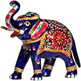 SouvNear Trunk-up Elephant - 16.2 cm Rare Majestic Blue Metal Elephant Ornament / Statue / Figurine / Sculpture with Hand-painted Traditional Meenakari work - Table Top / Living Room / Office and Home Décor - Good Luck Charm Housewarming Gifts