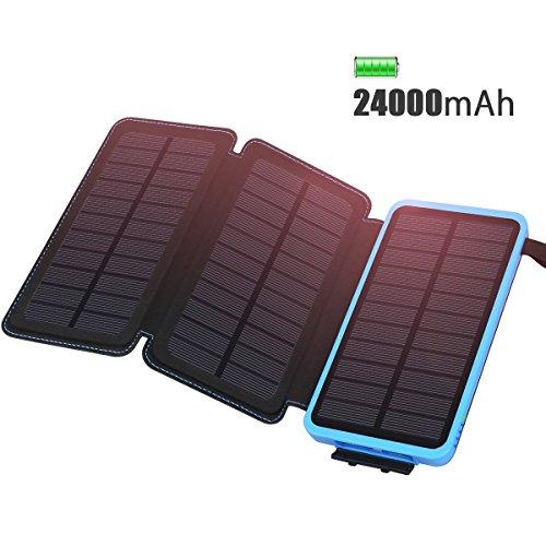 ADDTOP Cargador Solar 24000mAh Cargador portátil Impermeable Power Bank con 3 Paneles solares...