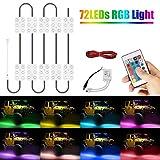 RGB Neon Licht, Ambother 72 LED RGB Atmosphäre Beleuchtung mit Infrarot-Fernbedienung für Auto Wasserdicht Mehrfarbig
