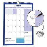 Calendrier Mural 2020 • Organiseur Familial et Bureau • Planning Format A4 • Accroche au mur • Grandes cases pour écrire • To do List • Dicton du Mois • Vision mois suivant • Popcarte...