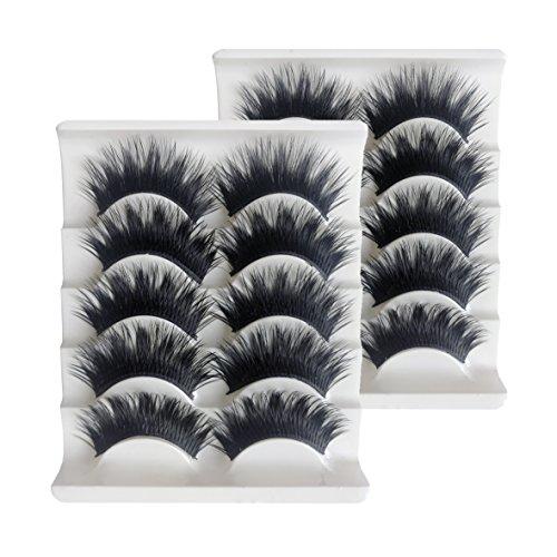 KFZR 10 Paare 3D Falsche Wimpern Gefälschte Wimpern Natürlichen Look Make-Up Erweiterung Schwarz Dick -