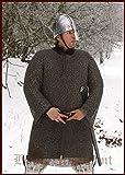 Battle Merchant Nasir Ali Chainmail hauberk unvernietet ID8mm Bronce, Vikingo, Larp Medieval Disfraz Talla XL