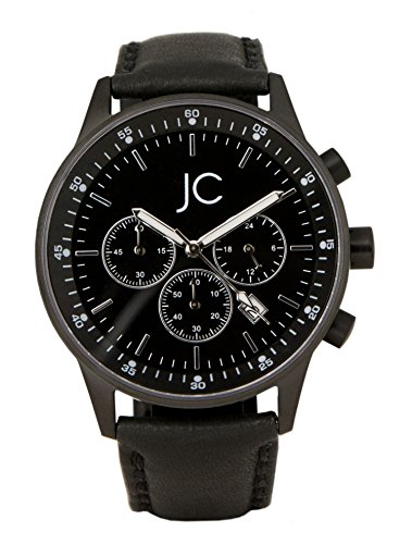 jean constantine men's quartz watch with chronograph dial watch with genuine leather strap with date: 5atm sporty black 43mm