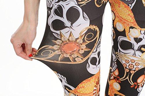 YesFashion Femme Pantalon Jegging Elasticité Collant Legging Thermique compression imprimé squelette Tête de mort Jaune