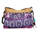 meizu88 Fashion Women Boho Beach Crossbody Bag Purse Cloth Shoulder Bags (Purple)
