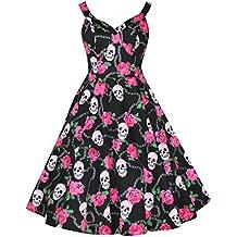 Mujer alternativa/diseño gótico estilo vintage de 50rosa Rose y Calavera Full Circle Imprimir Vestido Acampanado