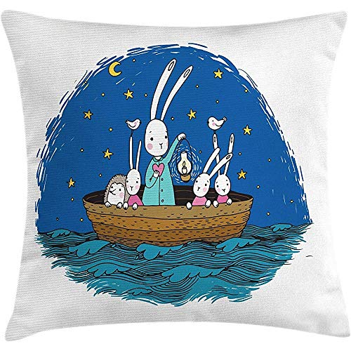 Throw Pillow Kids Cushion Cover, Little Bunnies and Hedgehog Floating in a Boat on The Wavy River Under a Night Sky, Decorative Square Accent Pillow Case, Multicolor 22 X 22 Inches -