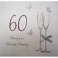 White Cotton Cards Wishing You a perfecto para 60th cumpleaños tarjeta de felicitación de copas de champán, blanco