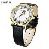 UNIFUN Armbanduhr Frauen Musiknoten Kreativ Lederarmband Mode Freizeit Quarz einfacher Stil Dame Geschenk Mädchen Weiß