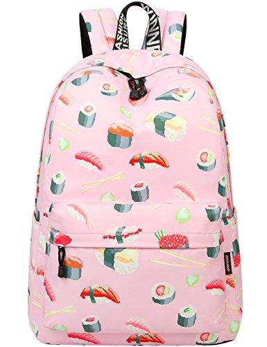 Mygreen Süße Wasserdichte japanische Tasche Sushi gedruckt Kinder Bookbag Schultasche Mädchen Laptop Floral Backpack für Mädchen Girls Daypack (Sushi-Groß) -