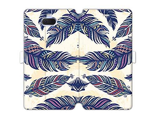 etuo Sony Xperia XA3 - Hülle Wallet Book Fantastic - Ethno Feder - Handyhülle Schutzhülle Etui Case Cover Tasche für Handy