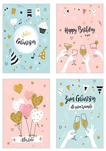 Set 4 exklusive Geburtstagskarten mit Glimmer-Veredelung und Umschlag - Glückwunschkarten zum Geburtstag - Geburtstagskarte mit Umschlag - Happy Birthday (Doppelkarten/Klappkarten mit Briefumschlag)