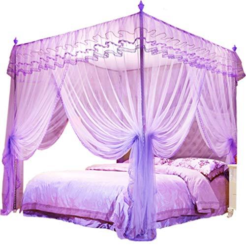 YliK Bedding 4 Corners Post lila Baldachin Bett Vorhang für Mädchen & Erwachsene - niedliche gemütliche drapieren Square Netting für Zwei Einzelbetten -