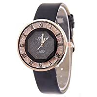 Souarts Women Black Artificial Leather Roman Numbers Quicksand Rhinestone Dial Quartz Analog Wrist Watch 24cm