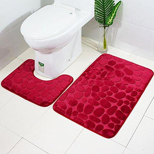ele ELEOPTION 2 Stück Rutschfeste Ständer Badematten Set atmungsaktivem Memory-Schaum Bad-Teppiche angenehm weiches Wasser saugfähig WC Badezimmer Teppich Rutschfest Ständer Unterstützung (Rot)