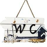 ULTNICE Plaque Signe Panneau de Porte Suspendu en Bois pour Toilettes WC Salle de Bain (bateau à voile)
