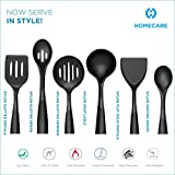 Homecare Nylon Slotted Cooking Spatula set with Heat Resistant Non-Stick Cooking Soup ladle, Serving Spoon, Skimmer and Spatula, Ergonomically Designed For Comfort, Scratches-Safe Cookware (6 Pcs Set)