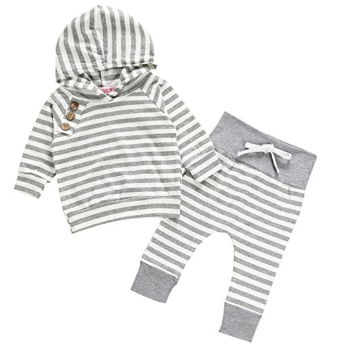 Chicolife Unisex Baby Boys Grils Hooded Sweatshirt Pants Tracksuit Hoodie Outfits Set