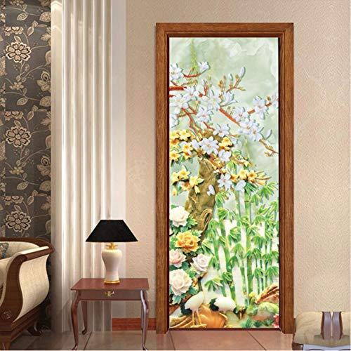 MYLOOO Traditionellen Chinesischen Stil Tür AufkleberBambus Wald Kunst Home Decor Tür Wandbild Selbstklebende DIY TürTapeten 77X200 cm -