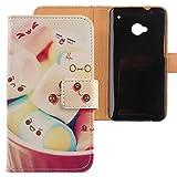 Lankashi PU Flip Leder Tasche Hülle Case Cover Schutz Handy Etui Skin Für HTC One M7 Lovely Design