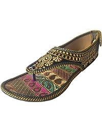 Step n Style nuevo Zapatos Piel hecha a mano indio Khussa saree de ballet Flat boda, color multicolor, talla 40.5