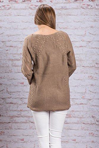 AN-LKYIQI Maglione lavorato a maglia con scollo a V, manica a maglia aperta da donna Khaki