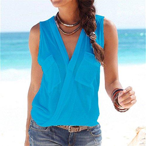 IHRKleid Damen Ärmellos V-Ausschnitt Weste Elegantes Shirts Bluse Sommer Tops Blau