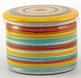 original französische wassergekühlte keramik butterdose, ca 250 gr, bunt zyl groß