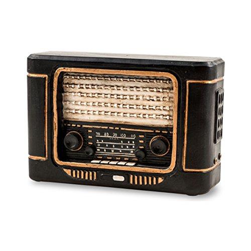 Pajoma 44400 Spardose Radio, aus Polyesin, 11 cm, schwarz / gold (Alte Radios)