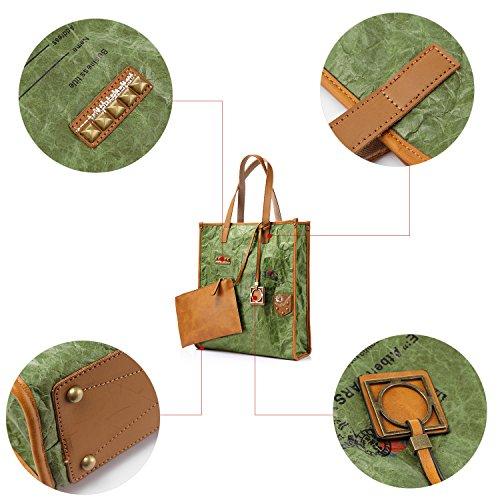 Borse per le donne Borsa in gomma con borsa in gomma con zaino e rivetti verde
