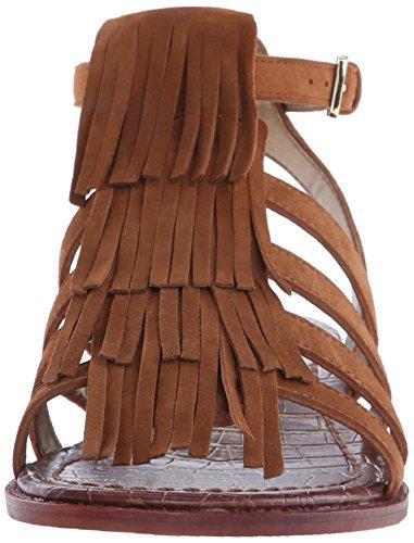 Sandalo Sam Edelman Estelle in camoscio marrone cuoio con frange Marrone