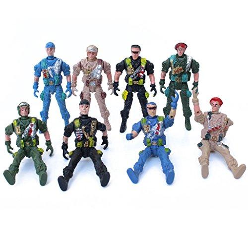 MagiDeal Armee-Kampf-Spiel Spielzeug Soldat Mit Reißverschluss Rucksack 9cm Set (Militär Figuren)