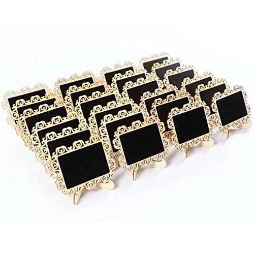 24pcs Mini Tableau noir message memo ardoise avec support numéro de table marque place panneau carte nom Mariage Fête