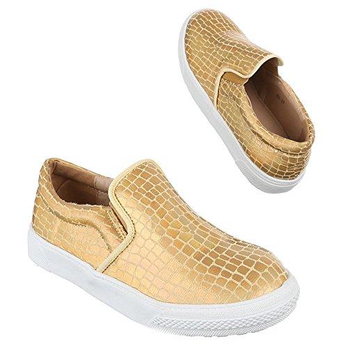 Scarpe Da Donna, Lb930-1, Mocassini Pantofole Oro M2-
