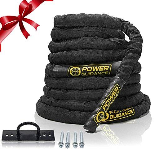 POWER GUIDANCE Battle Rope - 38mm Width Poly Dacron 9m/12m/15m Length Exercise Undulation Ropes - GYM Muscle Toning Metabolic Workout Fitness Exercise - Battle Rope Anchor Included (9M.Length) (Kürzer Bein Körper)