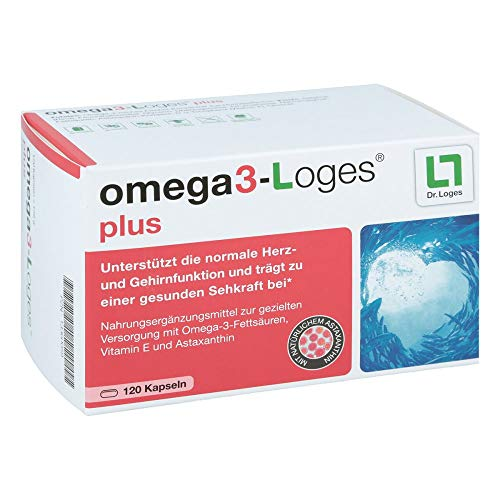 Omega3-Loges plus von Dr. Loges, 120 Kapseln (PZN 13360059) Omega-3-Fettsäuren EPA und DHA mit Astaxanthin - Bekömmlich, nachhaltig, schadstofffrei