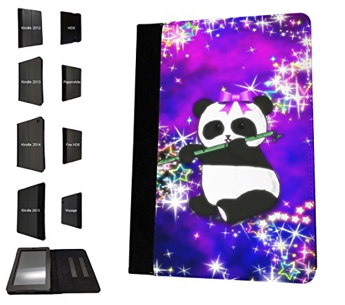 003061 - Bamboo panda galaxy background Design Amazon Kindle Fire 7'' 5th Generation (2015 Release Nur) TPU Leder Brieftasche Hülle Flip Cover Book Wallet Stand halter Case (Kindle Fire Background)