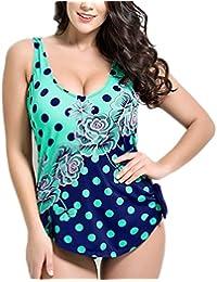 Missyhot Traje de Baño para Gorditas Mujeres Bañador Retro de Una Pieza de Lunares Monokini Bikini Telas Estampados Azul Verde Blanco