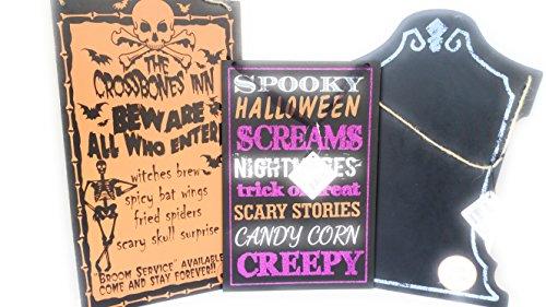 Halloween Spooky & Fun Zum Aufhängen Deko Schilder (3Schilder) 39,4cm T x 22,9cm L